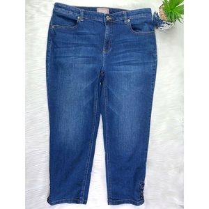 Chicos Womens Cropped Capris Jeans Size 1 Blue